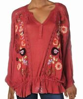 Free People Women's Top Sangria Red Size XS Embroidered V Neck Crochet $128 #032