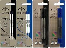 Parker Quink Medium Ball Pen / Rollerball Refills, Blue / Black Pack 2  - FRANCE