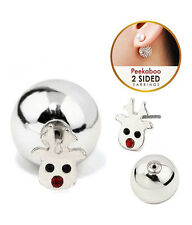 RUDOLPH  Red Nose Reindeer Front & Back Double Sided Silver Red Crystal Earrings
