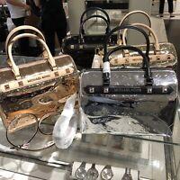 Michael Kors Medium Large Satchel Crossbody PVC Leather Bag Handbag Purse Black