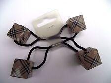 2 x Double Cubes Checkered Queue de Cheval Cheveux Liens