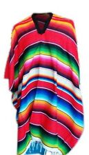 Genuine Mexican Red Striped Party Poncho Sarape Design One Size Fits All