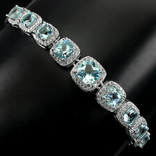 Sterling Silver 925 Genuine Natural Sky Topaz & Lab Diamond Bracelet 8-9.5 Inch