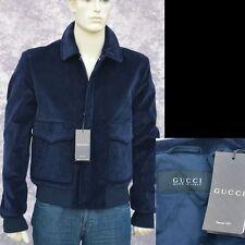 GUCCI New sz 54 - US 44 Designer Mens Web Corduroy Coat Jacket Navy Blue xl