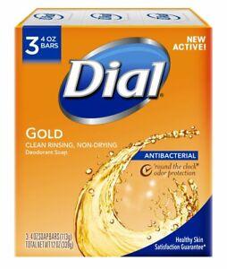 Dial Antibacterial Deodorant Bar Soap, 4, 3 Bars Gold Gold 12 Ounce - NEW