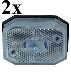 2 x WHITE CLEAR FRONT MARKER LIGHT LAMP FOR IFOR WILLIAMS TRAILERS