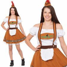 Ladies Oktoberfest Bavarian Beer Wench German Lederhosen Fancy Dress Costumes