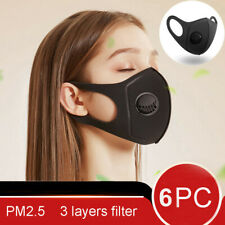 6x Face Mask Protective Covering Mouth Masks Washable Reusable Black Filter