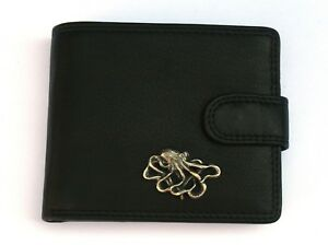 Octopus L Mens Leather Wallet BLACK or BROWN Sea Life Gift 248