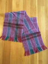Avoca Handweavers Wool Scarf Made in Ireland Purple Green Fringed Handwoven