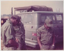 Vintage 70s PHOTO Army Military Guys w/ Vehicles