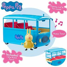 Peppa Pig Peppa De gran escuela Bus Playset & Rebbeca Rabbit Mini Figura Juguete 3+