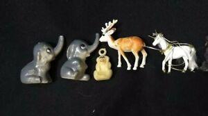 Miniature Dollhouse Animal Lot Of 6 Plastic Figurines Unicorn Elephant Deer Dog