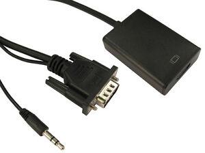 Vga to Hdmi Adapter Analogue - Digital Converter Audio Jack 15 pin