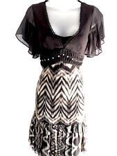 KAREN MILLEN Tigers Eye Studded Dress Black Multi SILK Animal Print UK Size 8 36