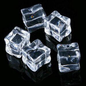 20Pcs Fake Artificial Acrylic Ice Cubes Clear Squares Reusable Bar Supplies