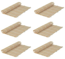 Set of 6 Bamboo Sushi Rolling Mats 9-1/2 Inches Square
