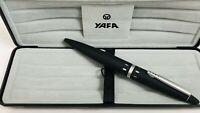 Vintage 60's 70's YAFA APOLLO Ballpoint Pen Black & Silver with Case