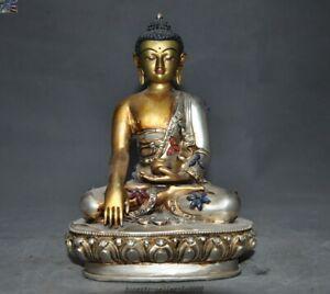 Tibet temple bronze silver Inlay gem Sakyamuni Shakyamuni Medicine Buddha statue