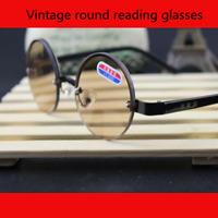 Fashion Vintage Presbyopic Round Eyeglasses Tea Lens Full Frame Reading Glasses