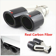 Universal Glossy Carbon Fiber Car Exhaust Dual Pipe Tail Muffler End Tip -Right