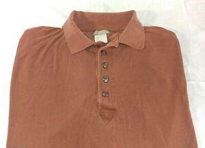 The Territory Ahead Mens Brown Silk Long Sleeve Polo Shirt Size XL XLarge (A10)