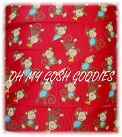 7/8 SAFARI FUNKY SPUNKY MONKEY BUSINESS GROSGRAIN RIBBON BROWN 4 HAIRBOW BOW RED