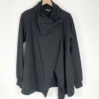Ideology Snap Front Wrap Sweatshirt S Black Long Sleeve Asymmetric Womens New