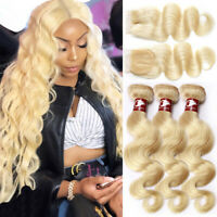 Extra Thick 613 Blonde Brazilian Virgin Human Hair Weave 3BUNDLES + CLOSURE Weft