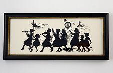 "Schattenbild, antikes Motiv: ""Das Frühlingsfest"", gerahmt, Glas, 26x12 cm. (3Y4)"