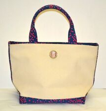 Lilly Pulitzer Monogram Canvas Summer Purse Tote Navy w/Polka Dots Lady Bug Trim