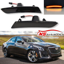 2x Smoked Front Led Side Marker Lights for Cadillac ATS 2015-2017 CTA 2014-2017