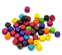 20 perles Cube en bois brillant 8mm couleur mixte 8 mm perle, bijoux, bracelet