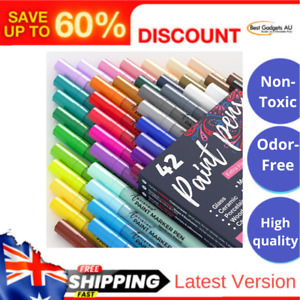 Set of 42 Acrylic Paint Pens Extra Fine Tip 0 7mm Great for Rock Painting