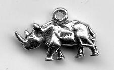 Sterling silver Rhinoceros 3D Charm 3 Grams 12x18mm 8415A
