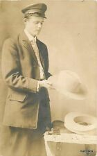 C-1910 Young Man Hat Maker Occupation RPPC Real photo postcard 6234
