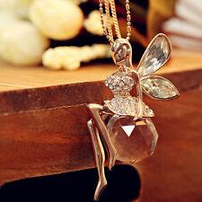 Kristall Kugel Fee Flügel Engel Lange Strass Glas Damen Lang Halskette