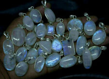 Natural Fire Rainbow Moonstone Stone Wholesale Lots 925 Sterling Silver Pendant