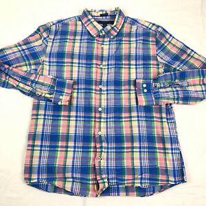 Tommy Hilfiger Shirt Mens Large Button Up Custom Fit Plaid Cotton Linen Casual