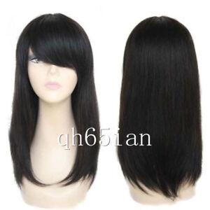 100% Real Hair! Women wig Black Brazilian Long Straight Wigs Straight Human Hair