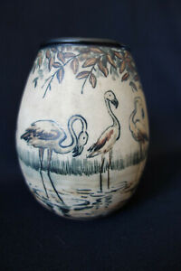 Vase ciboure Periode Vilotte Floucault dit Chaf  flamants roses
