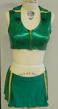 UNIQUE 1-ONLY GREEN+GOLD SEMI-PRO/DANCE/CHEERLEADER 2PC MODEST COSTUME-Size M