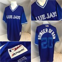 Toronto Blue Jays Majestic Jersey Sz 44 Blue Authentic Sewn On No. 20 YGI D8-434