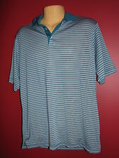 Chase Edward Golf Men's Teal Blue Striped Polo Shirt - Size Small - NWT
