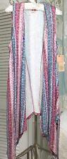 NEW ~ XL Pink Blue Rose Blush Boho Open Duster Kimono Vest $59