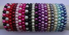 Elastic Glass Pearl Bead Bracelet - 22 Colours to Choose from NEW