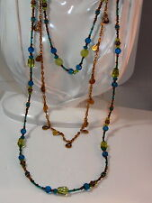 Chico's Sapphire Blue Peridot Green Faceted Glass Gold Chain 3T Necklace 9b 17