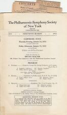 Concert Programme 1932 Bruno Walter New York Philharmonic Carnegie Hall Brahms