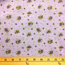 Buttercup Purple Print Fabric Cotton Polyester Broadcloth By The Yard 60""