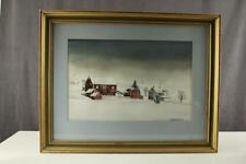 Easton PA RED BARNS FARMHOUSE WINTER Original Art Painting ERICKA SMITH DELONG